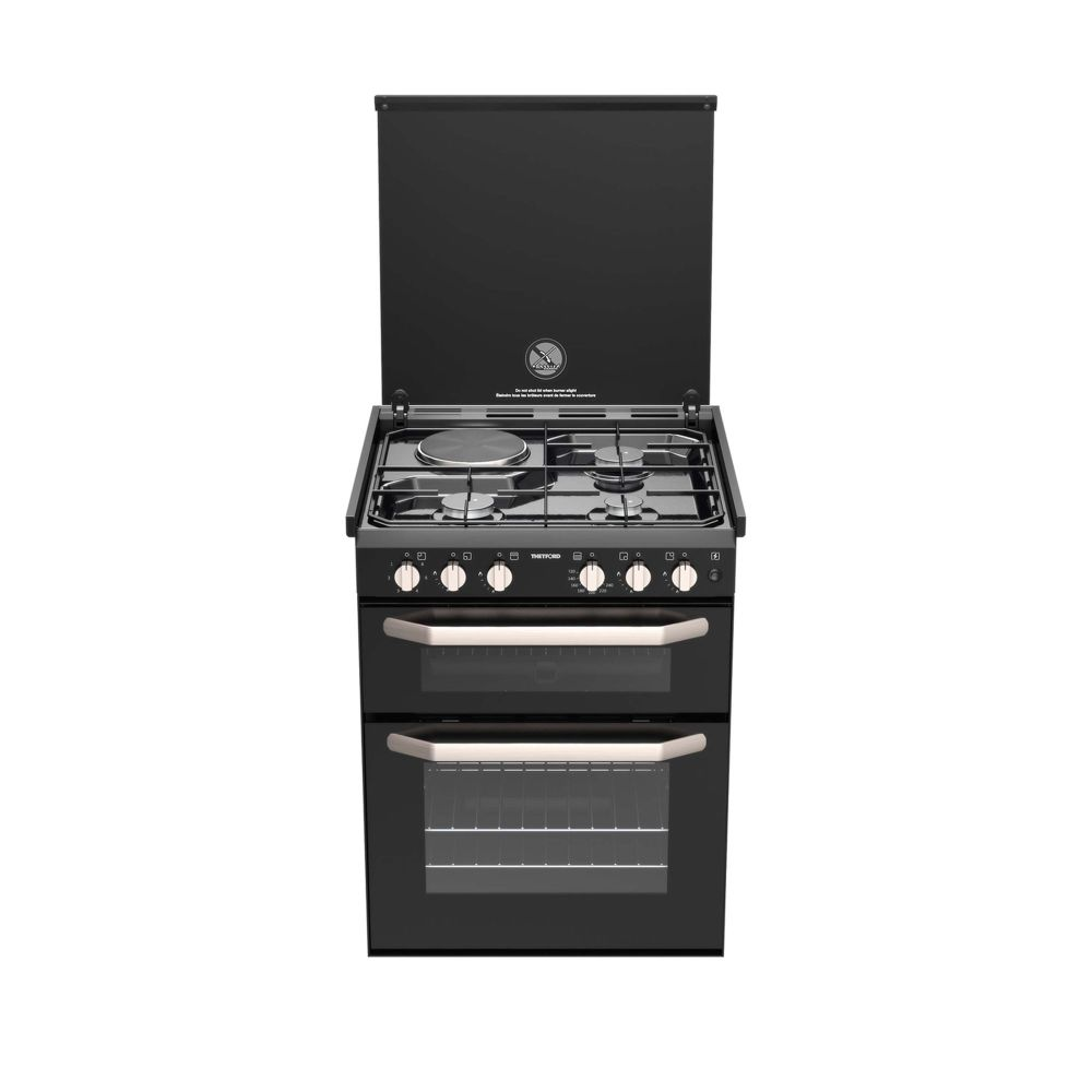 THETFORD K1520 Dual Fuel Cooker 3 Gas Burners 1 Electric Hotplate w/ Grill, 12 Volt IGN & Lid Shut-Off (SCK42999-SP)
