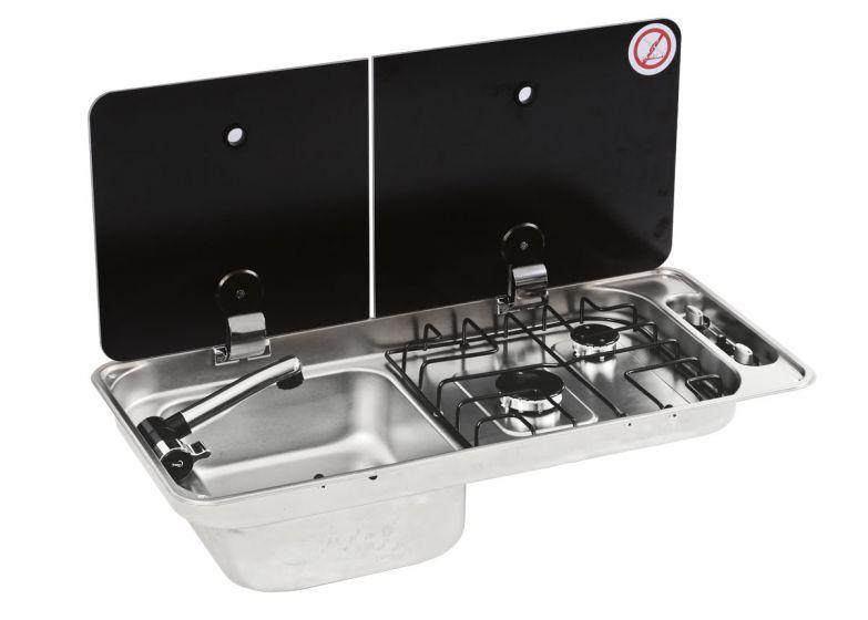 CGC1402IGL CAN Twin Burner & Sink Split Pane Folding Glass Lid (Left Hand Sink) Including Waste (CLP1800)