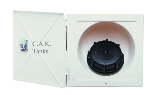 F7441 40mm Square Reccessed Water Filler White With Locking Cover
