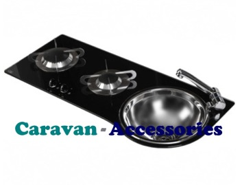 CGC1364 CAN Crystal Glass Combo Unit 2 Burner Round Sink (Right Hand Sink) Including Waste (CLP1800)