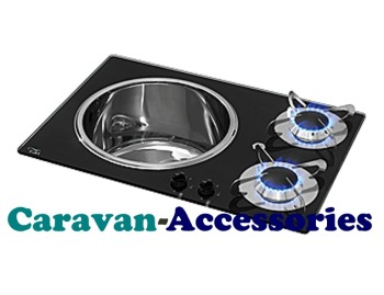 CGC1360 CAN Crystal Glass Combo Unit 2 Burner Round Sink SHORT (Left Hand Sink) Including Waste (CLP1800)