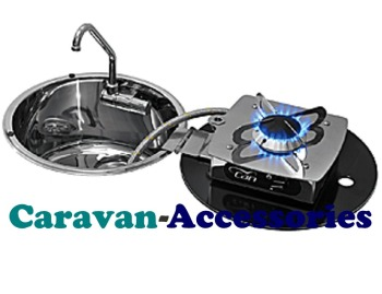 CLC1701 CAN Crystal Glass Sink with Flip-out Single Burner Round (Folds Out To The Right) Including Waste (CLP1800)