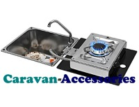 CLC1710 CAN Crystal Glass Sink with Flip-out Single Burner Square (Folds Out To The Right) Including Waste (CLP1800)