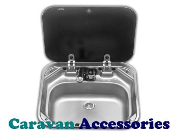 S8006 Dometic SMEV 8006 Square Sink Unit Unit With Black Glass Lid