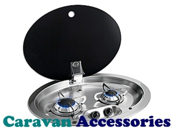 CGH1348 CAN (Twin Burner Hob with Black Glass Lid)