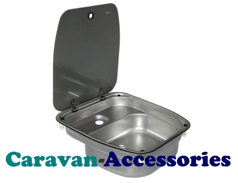 DCRCE99BHI27IG Dometic CRAMER Sink Unit Stainless Steel With Black Glass Li