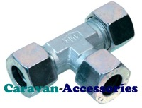 GTEE8 8mm Zinc Plated Tee Gas Connector