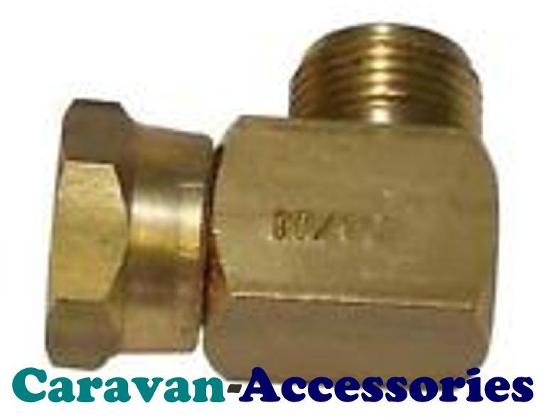 GAD20ELB Elbow W20 Nut & W20 Thread (GASLOW W20 Adapter Right Angled)