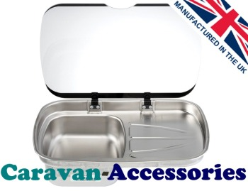 TCSSK1006 THETFORD Argent Sink & Drainer Unit With Glass Lid (Right Hand Drainer) RH