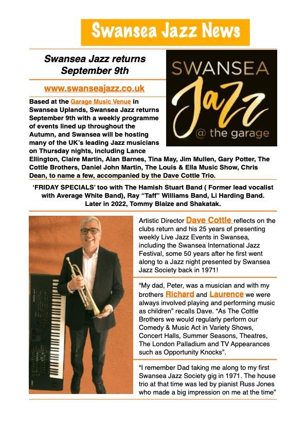 Swansea Jazz Returns September 9th