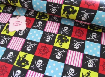 Pirate Patchwork Black by Rose & Hubble 100% Cotton
