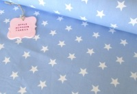 White Stars on Baby Blue by Rose & Hubble 100% Cotton