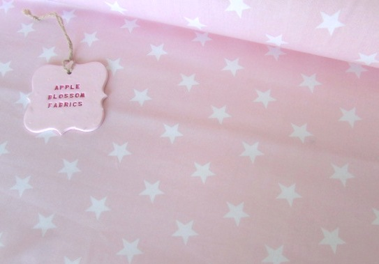 White Stars on Baby Pink by Rose & Hubble 100% Cotton