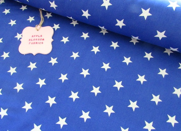 White Stars on Royal Blue by Rose & Hubble 100% Cotton