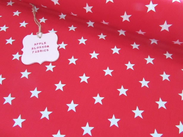 White Stars on Red by Rose & Hubble 100% Cotton
