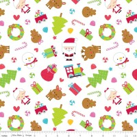 Santa Express Santa Main White by Riley Blake 100% Cotton