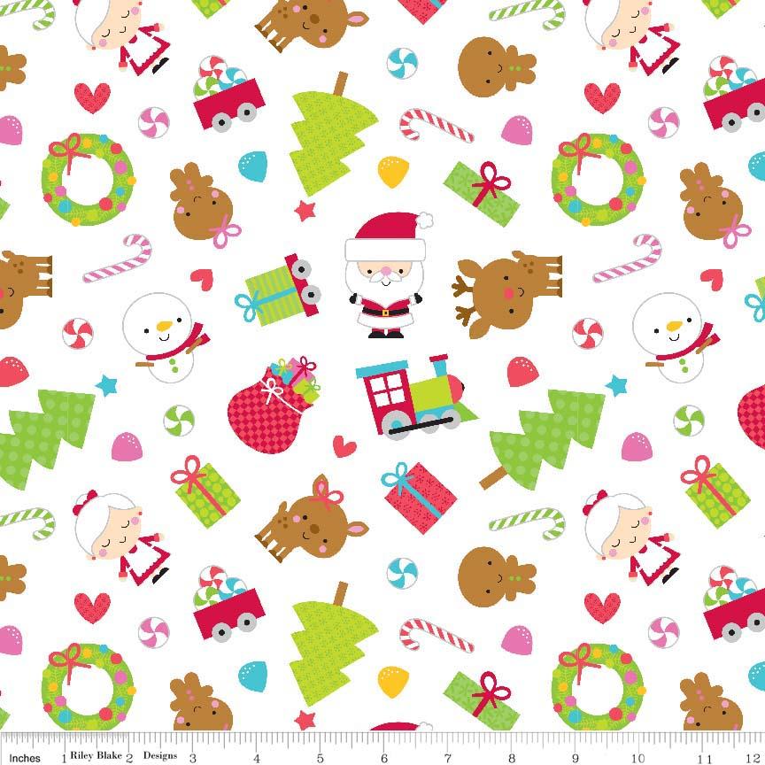 Santa Express Santa Main White by Riley Blake 100% Cotton