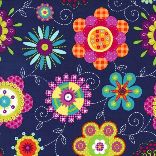 Peppy Petals Navy by Michael Miller 100% Cotton