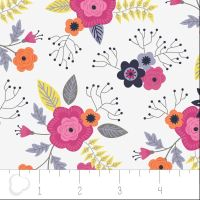 Paradise Posies in White by Camelot Fabrics 100% Cotton