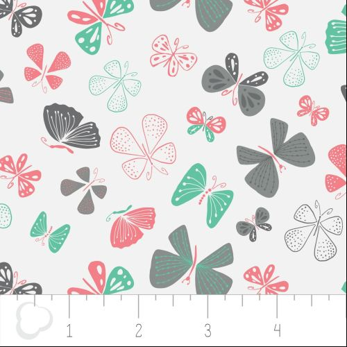 The Kitten's Meow Butterflies in White by Camelot Fabrics 100% Cotton
