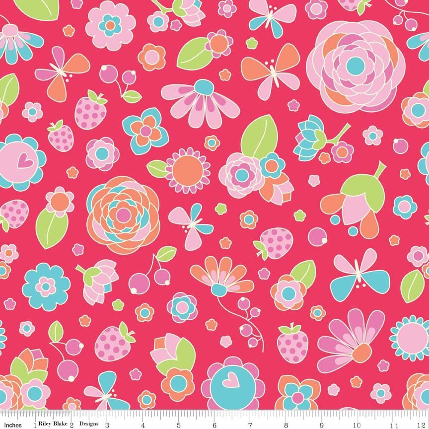 Flutterberry Main Red by Riley Blake 100% Cotton