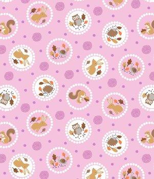 Gentle Forest Circles Mauve Pink by Studio E Fabrics 100% Cotton 41 x 108 cm