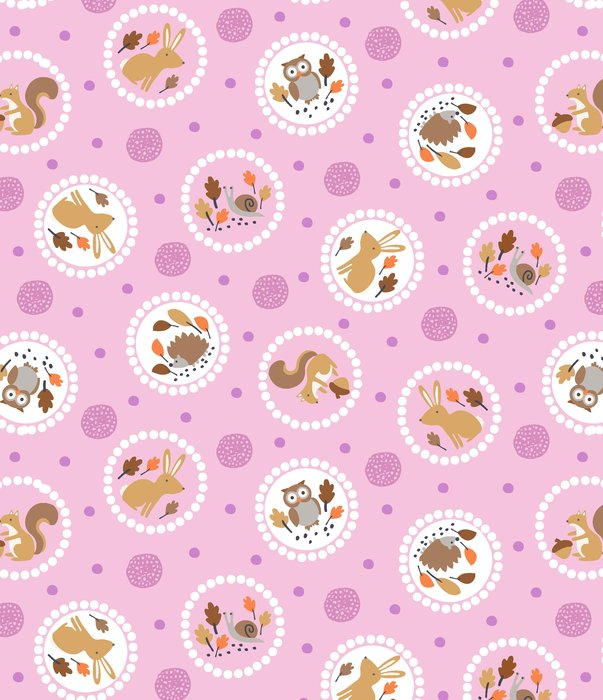 Gentle Forest Circles Mauve Pink by Studio E Fabrics 100% Cotton