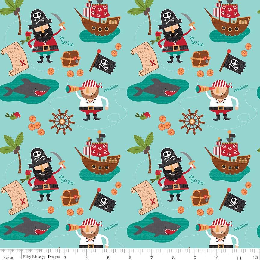 Blackbeard's Pirates Main Blue by Riley Blake Designs 100% Cotton