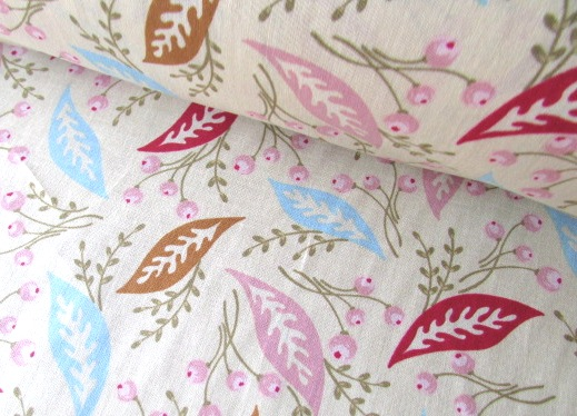 Sophie Leaves on Cream by Clothworks 100% Cotton