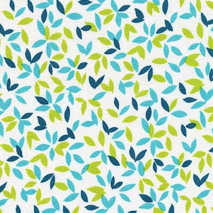 Melodies Little Leaves Turquoise by Michael Miller 100% Cotton