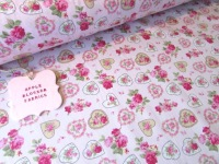 Pink Rose Vintage Floral Hearts 100% Cotton
