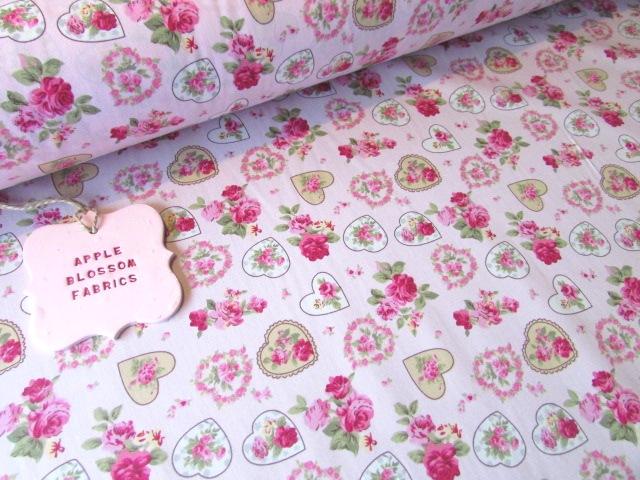 Pink Rose Vintage Floral Hearts 100% Cotton