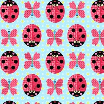 Sunshine Day Ladybirds & Butterflies on Blue by Studio E Fabrics 100% Cotton
