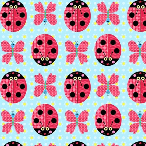 Sunshine Day Ladybirds & Butterflies on Blue by Studio E Fabrics 100% Cotto
