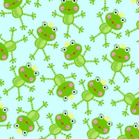 Sunshine Day Dizzy Princess Frogs on Blue by Studio E Fabrics 100% Cotton