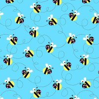 Sunshine Day Busy Bees on Blue by Studio E Fabrics 100% Cotton 32 x 110 cm