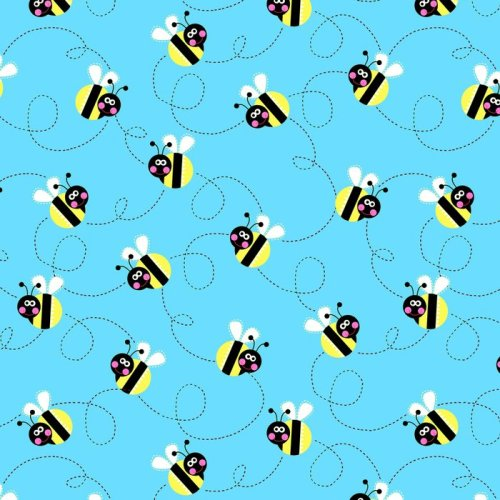 Sunshine Day Busy Bees on Blue by Studio E Fabrics 100% Cotton