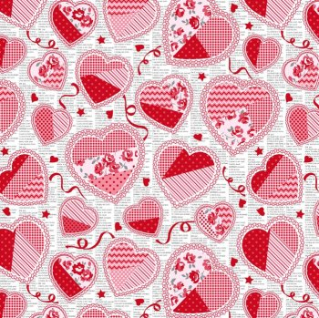 Hugs and Kisses Doily Hearts by Studio E Fabrics 100% Cotton