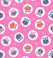 Wings N Things Owls Pink by Studio E Fabrics 100% Cotton 55 x 108 cm