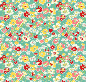 Toy Chest Florals Teal by P & B Textiles 100% Cotton