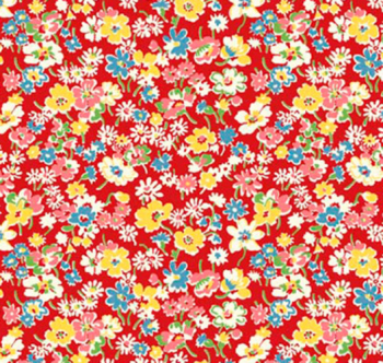 Toy Chest Florals Red by P & B Textiles 100% Cotton