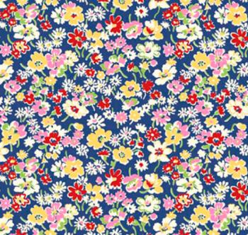 Toy Chest Florals Blue by P & B Textiles 100% Cotton