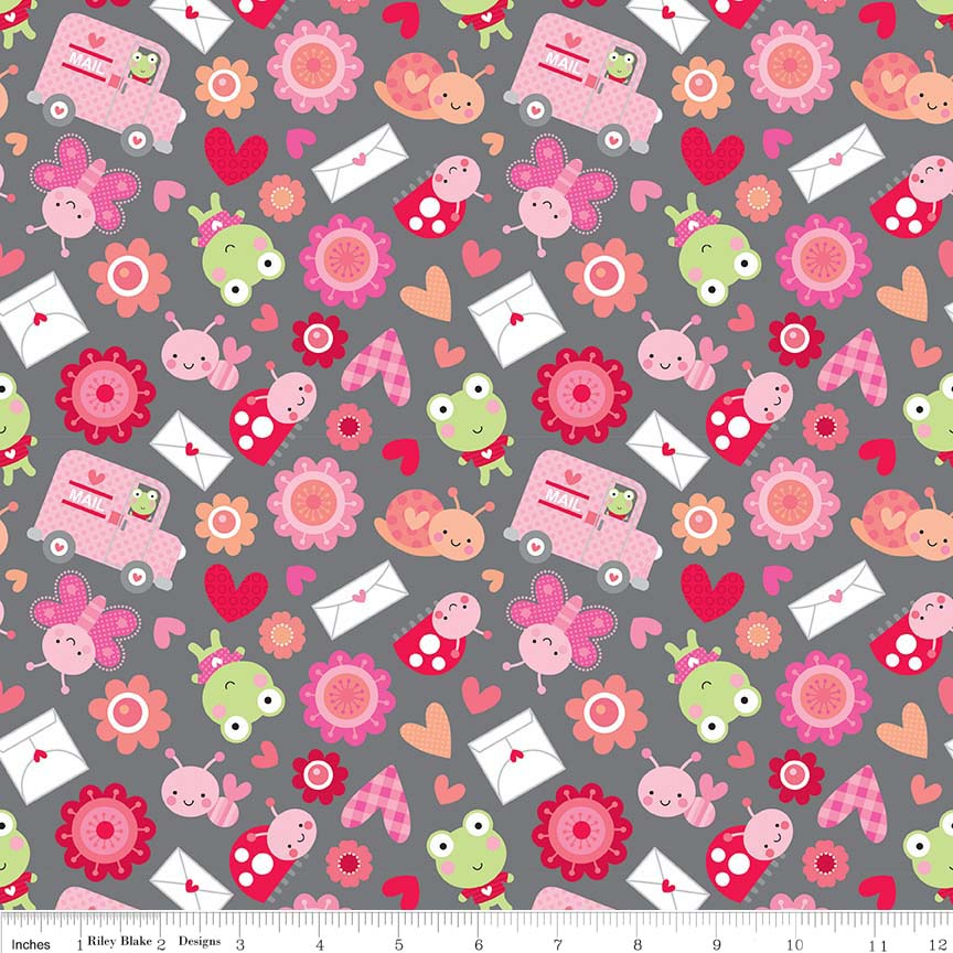 Lovebugs Friends Grey by Riley Blake Designs 100% Cotton