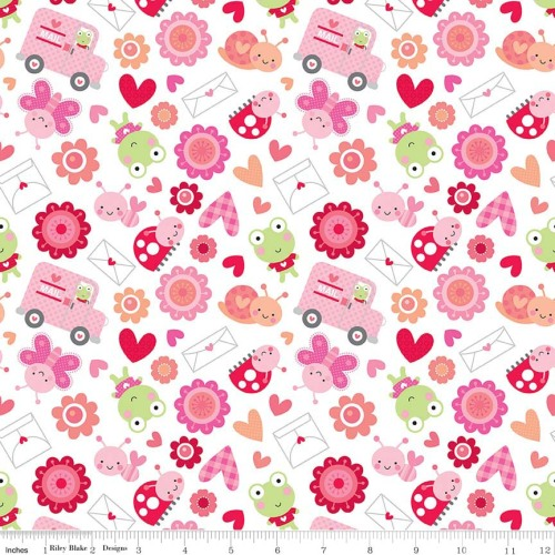 Lovebugs Friends White by Riley Blake Designs 100% Cotton