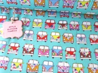 Retro Camper Vans Mint Green by Rose & Hubble 100% Cotton