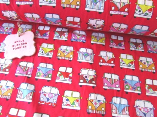 Retro Camper Vans Red by Rose & Hubble 100% Cotton