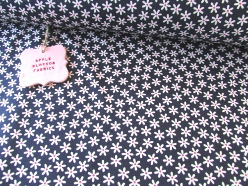 Crazy Daisy Small Navy by Rose & Hubble 100% Cotton