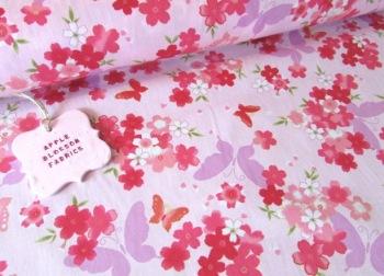 Floral Butterflies Pink 100% Cotton