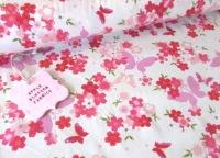 Floral Butterflies Ivory 100% Cotton