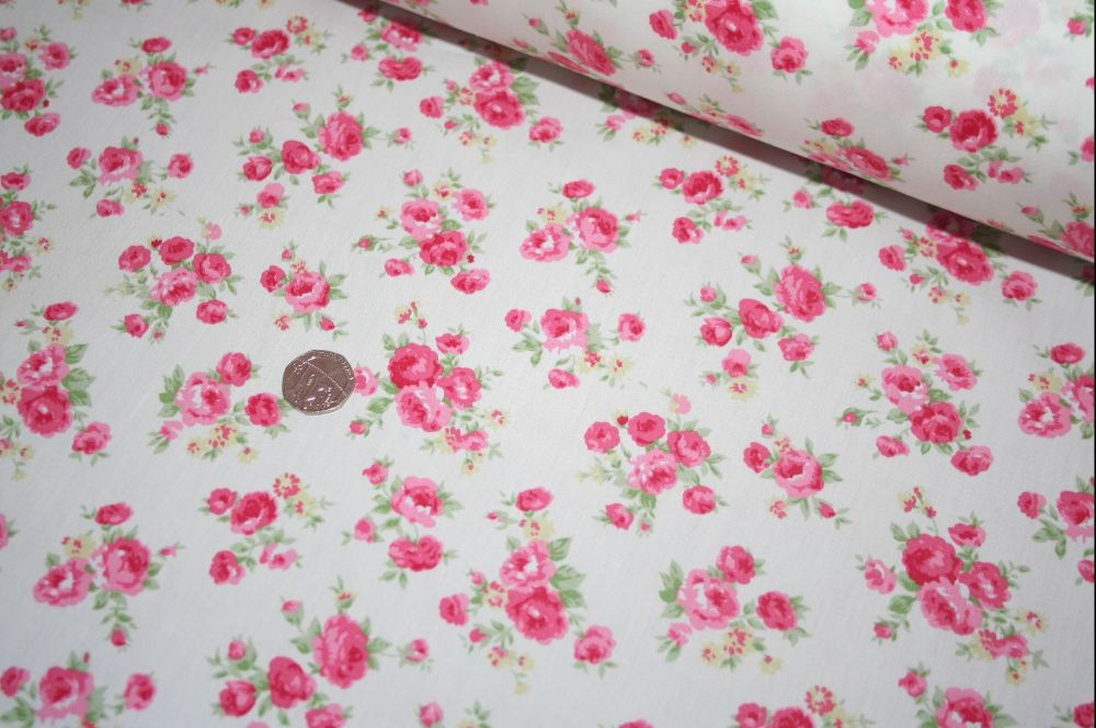 Amelia Pink Rose Floral Ivory 100% Cotton